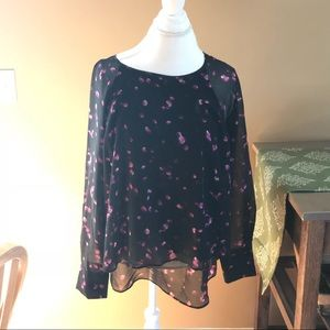 Black and pink long sleeve chiffon blouse